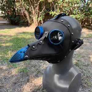 Halloween Steampunk Full Plague Doctor Mask Blue